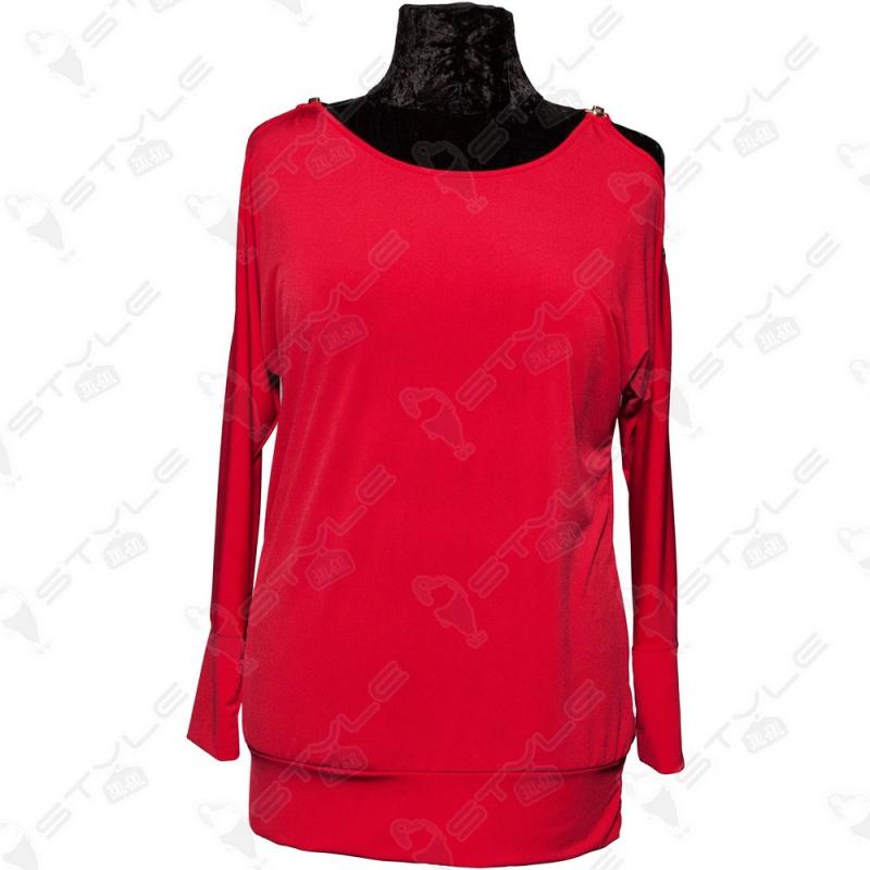 Кофта Luizza красная с открытыми плечами