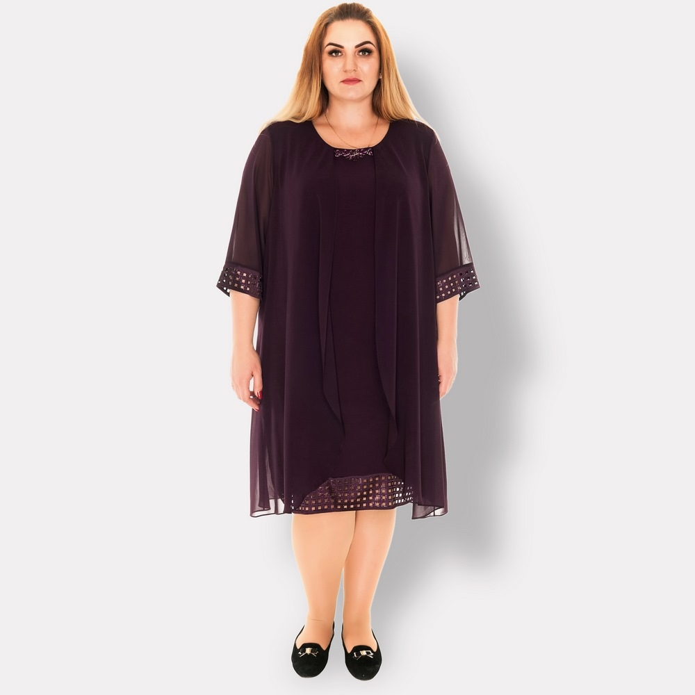 Нарядное платье больших размеров. Cocoline (Турция). Фиолетовое.