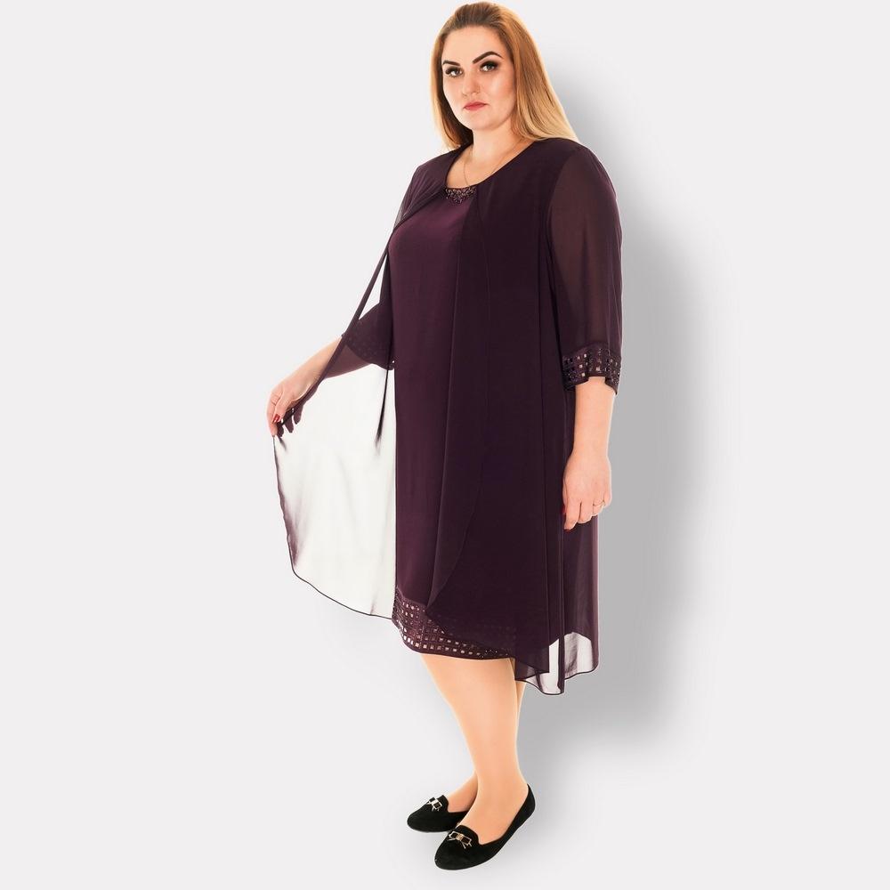 61245663e45 Нарядное платье больших размеров. Cocoline (Турция). Фиолетовое. по ...