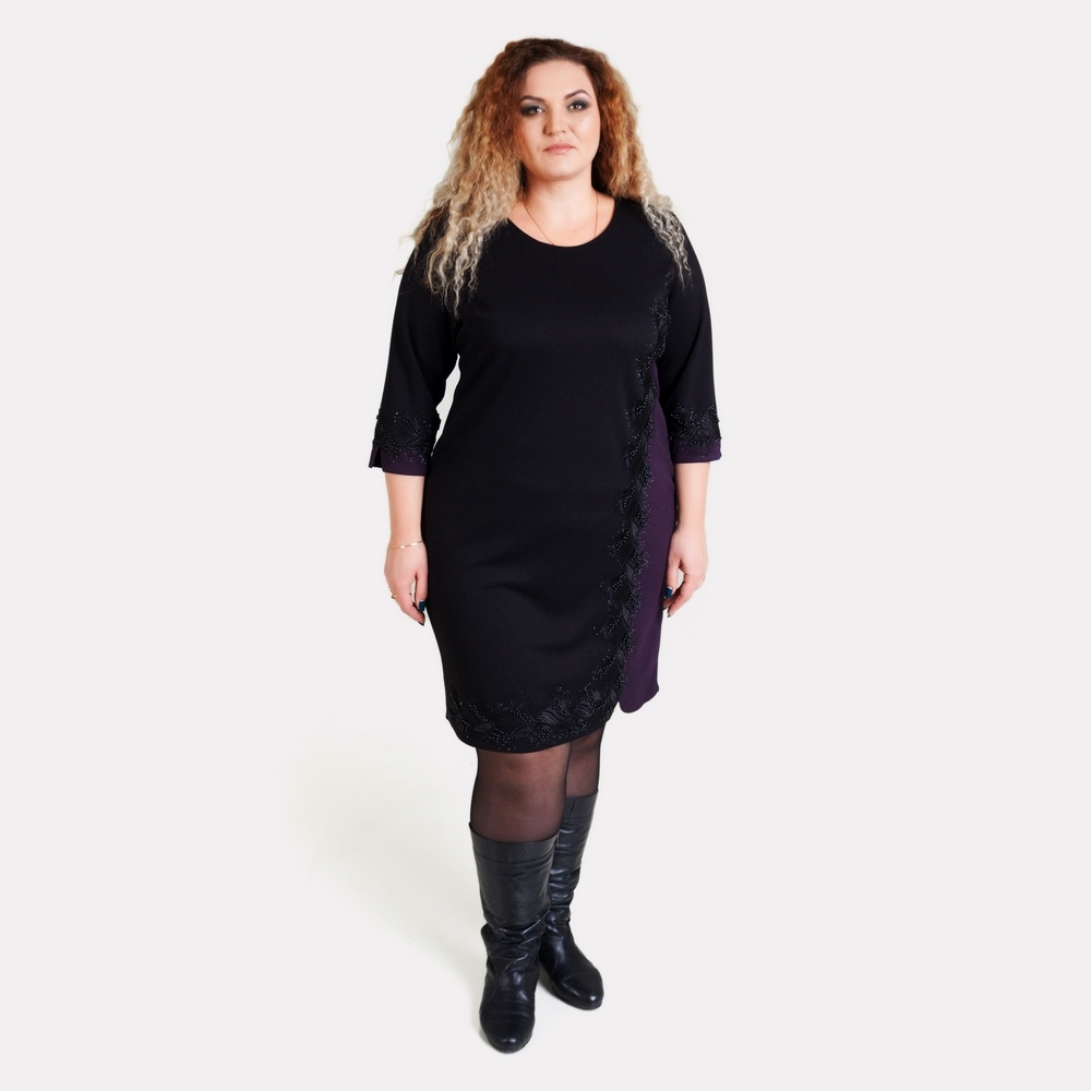77eb5f8e090 Нарядное черное платье больших размеров JUPITER по цене - 1980 грн ...