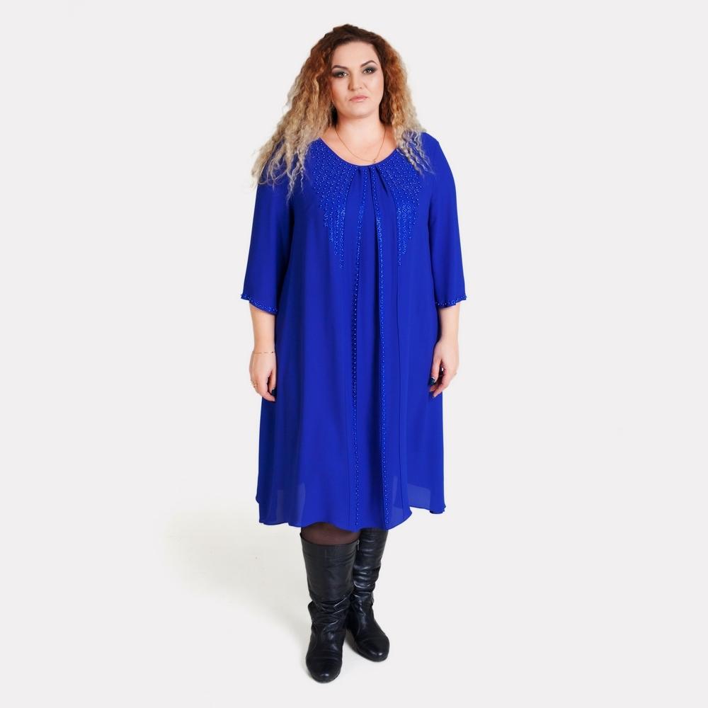 Шикарное нарядное синее платье батального размера COCOLINE