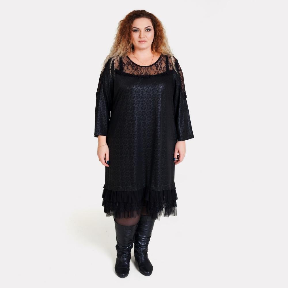 Красивое длинное черное платье большого размера AY-SEL