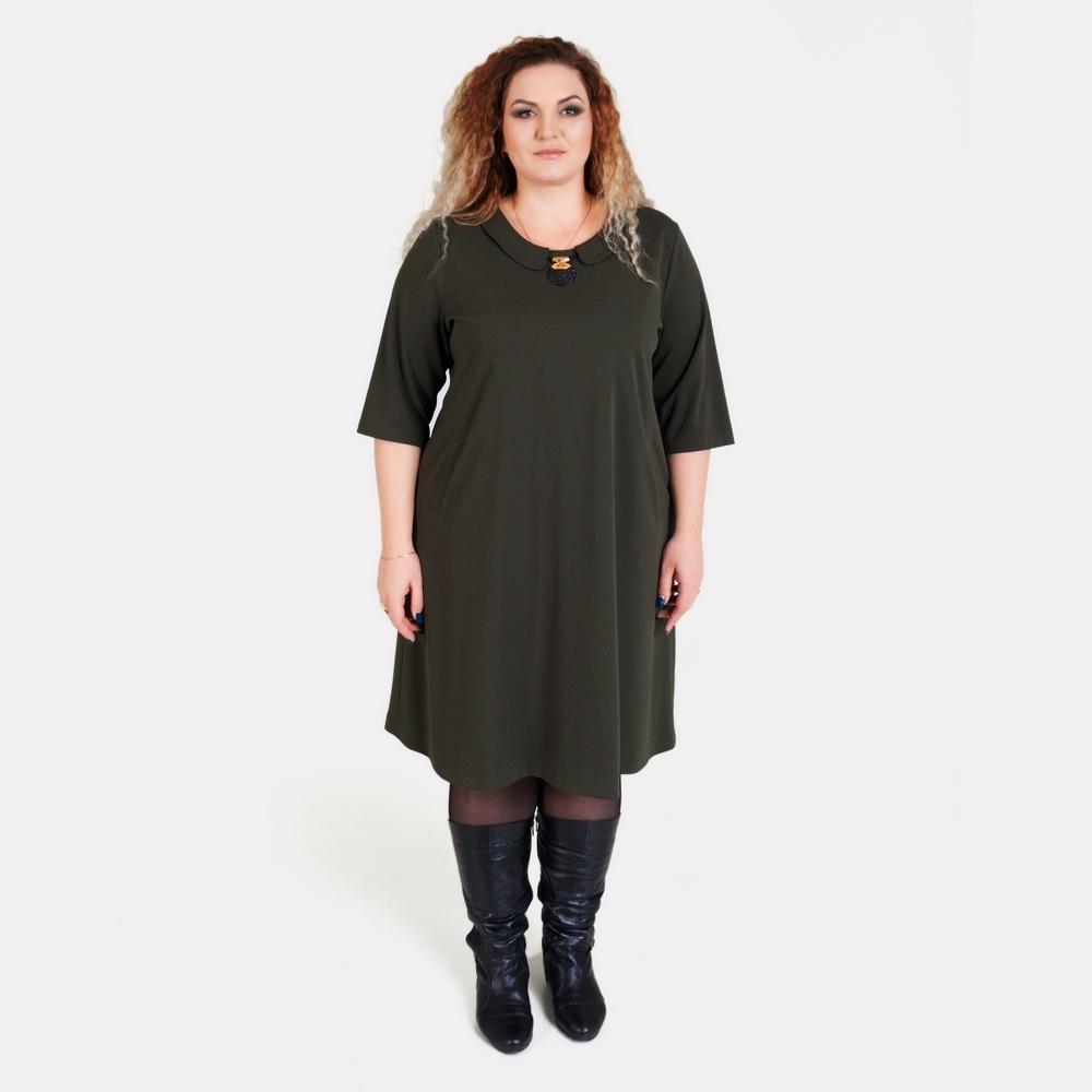 Оливковое платье большого размера ALAZORA
