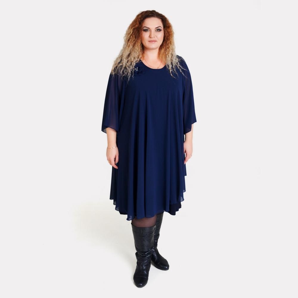 Нарядное синее платье большого размера Love drobe