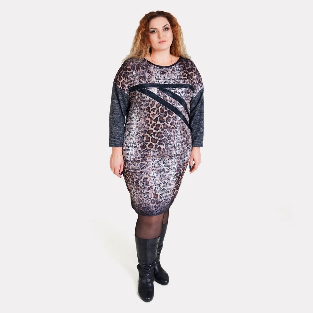 Теплое зимнее платье больших размеров. Luizza